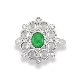 Natural Green Ice Jade Ring Size 7.25