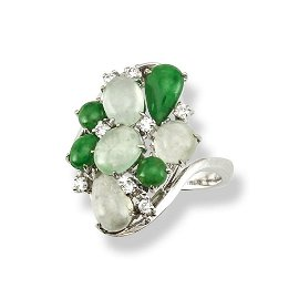 One Of A Kind  14k White Gold Green & Ice Jadeite Jade
