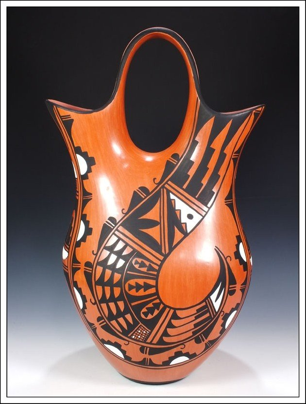 232P: Jemez Pueblo Hand Coiled Wedding Vase