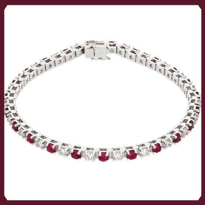 9F: RUBY AND DIAMOND TENNIS BRACELET - 14KT WHITE GOLD