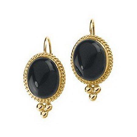 16F: Genuine Onyx Earrings in 14kt Yellow Gold