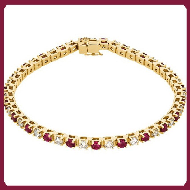 17F: RUBY AND DIAMOND TENNIS BRACELET - 14KT YELLOW GOL