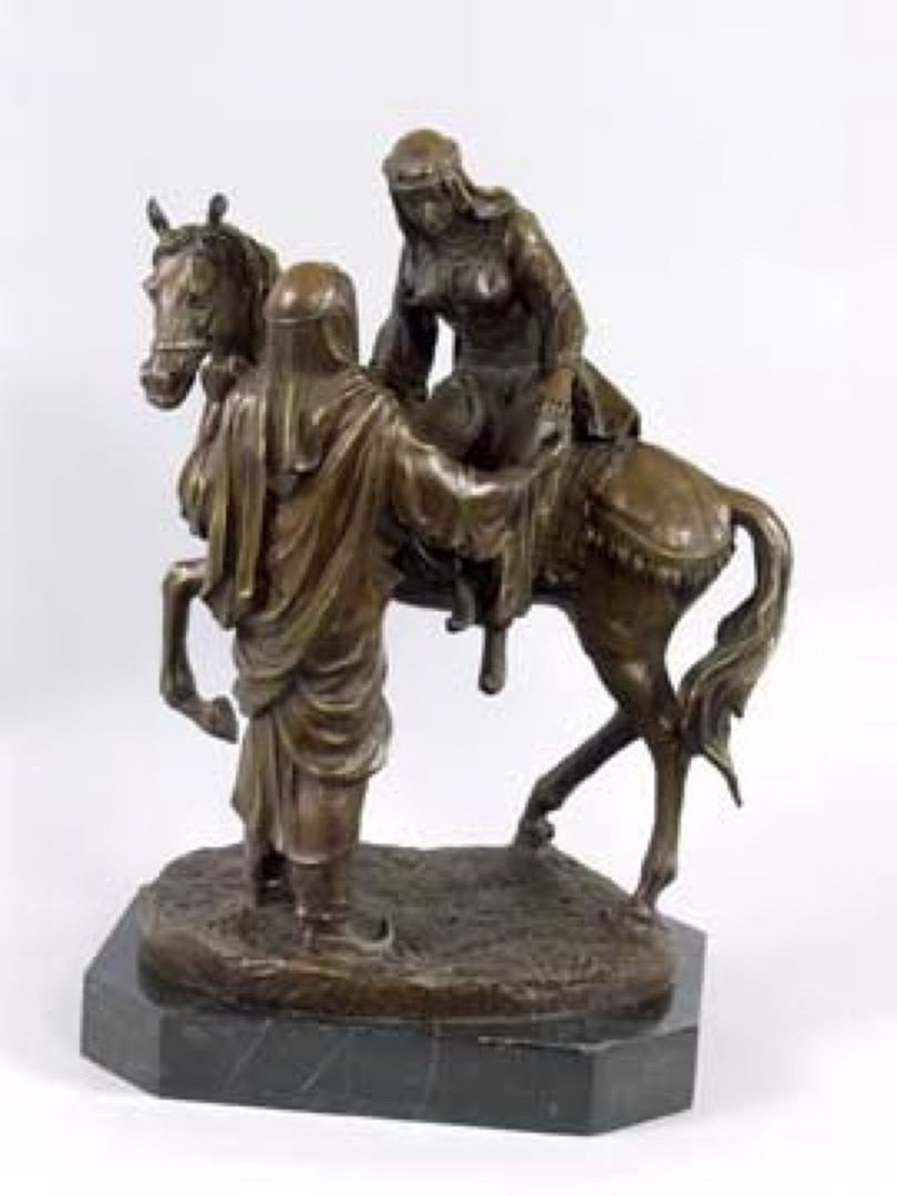 8I: ARABIAN COUPLE WITH HORSE - BRONZE SCULPTURE