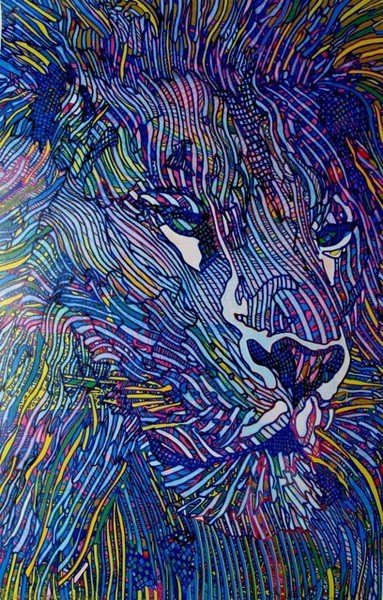6A: Guillaume Azoulay LE LION Hand Signed Giclee on Can