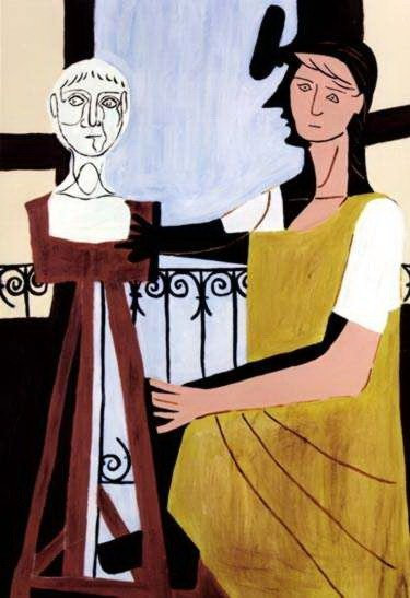 4B: #44 WOMAN WITH SCULPTURE PICASSO ESTATE SIGNED GICL