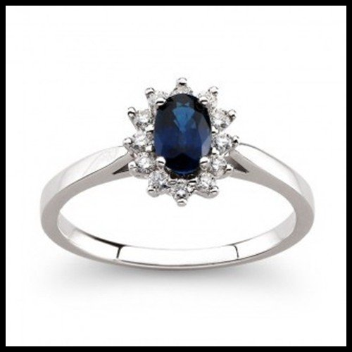 7W: Sapphire and Diamond Ring in 14kt White Gold