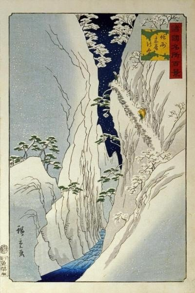 """11G: HIROSHIGE""""KISO GORGE IN NEW SNOW"""""""