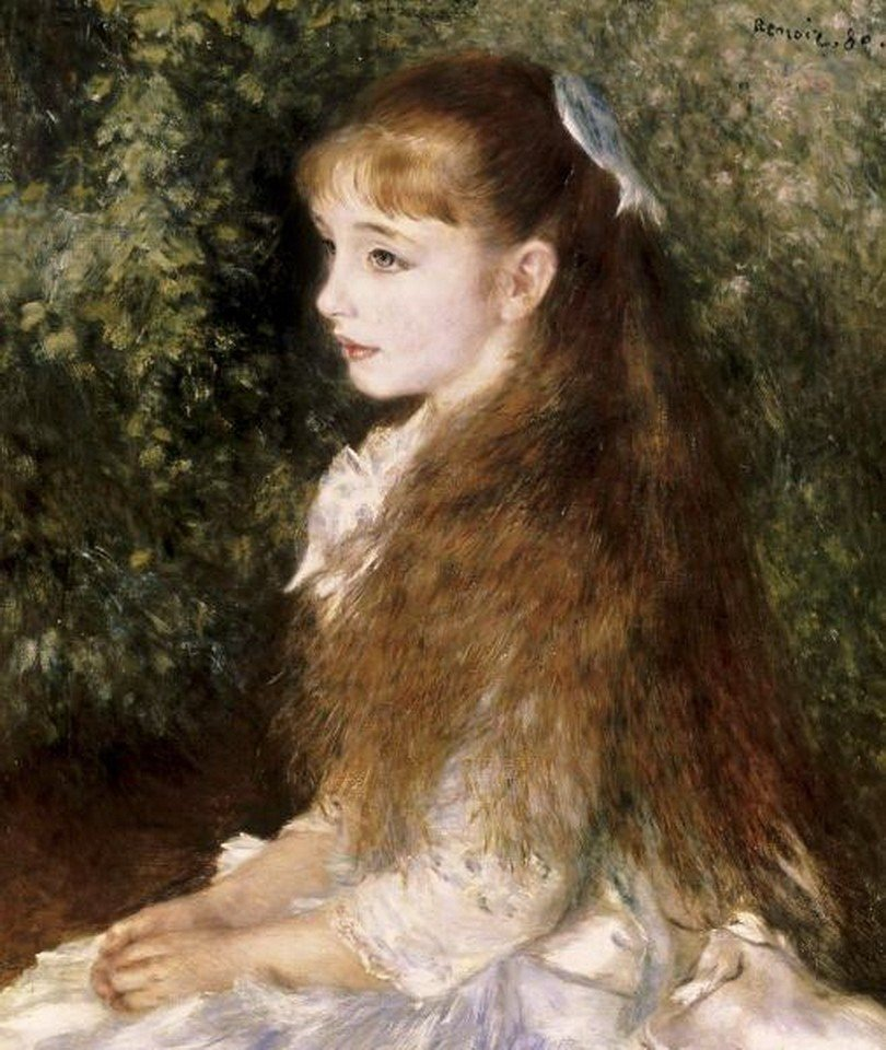 """2G: PIERRE AUGUSTE RENOIR - """"GIRL WITH A BLUE RIBBON"""" G"""
