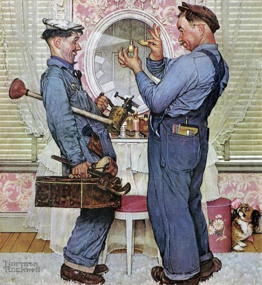 """877G: NORMAN ROCKWELL - """"THE PLUMBERS"""" Giclee"""