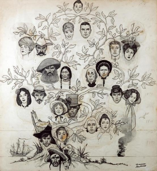 "449G: NORMAN ROCKWELL ""FAMILY TREE (DRAWING)"""