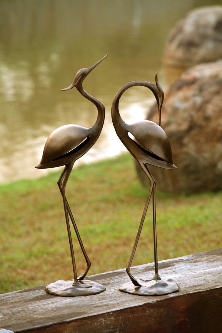 1A: STYLIZED GARDEN HERON PAIR