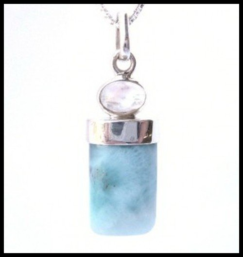 705F: Rectangular Larimar and Moonstone Pendant
