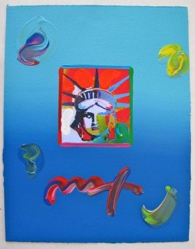 547T: Peter Max LIBERTY HEAD Hand Signed Original Mixed