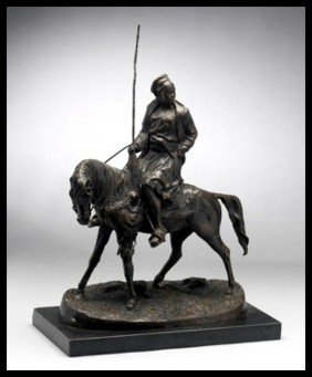 1B: LADY ON HORSE - BRONZE SCULPTURE