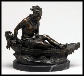 8B: INDIAN IN CANOE - BRONZE SCULPTURE