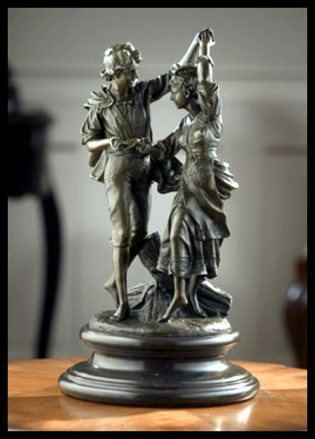 589B: MAN & WOMAN DANCING - BRONZE SCULPTURE