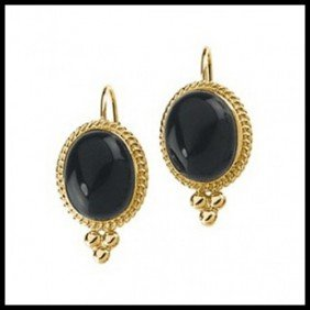 4F: GENUINE ONYX EARRINGS IN 14KT YELLOW GOLD