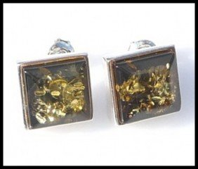 1F: GOLDEN GREEN AMBER EARRINGS