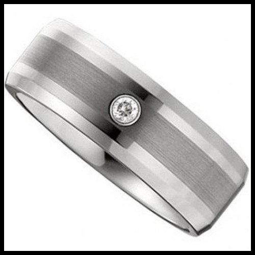 13F: TUNGSTEN DIAMOND BAND WITH SATIN CENTER