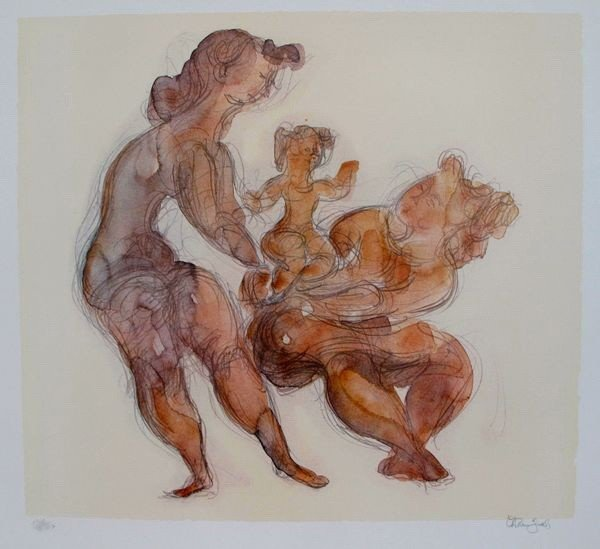 1T: CHAIM GROSS WOMAN WITH CHILD HAND SIGNED LITHOGRAPH
