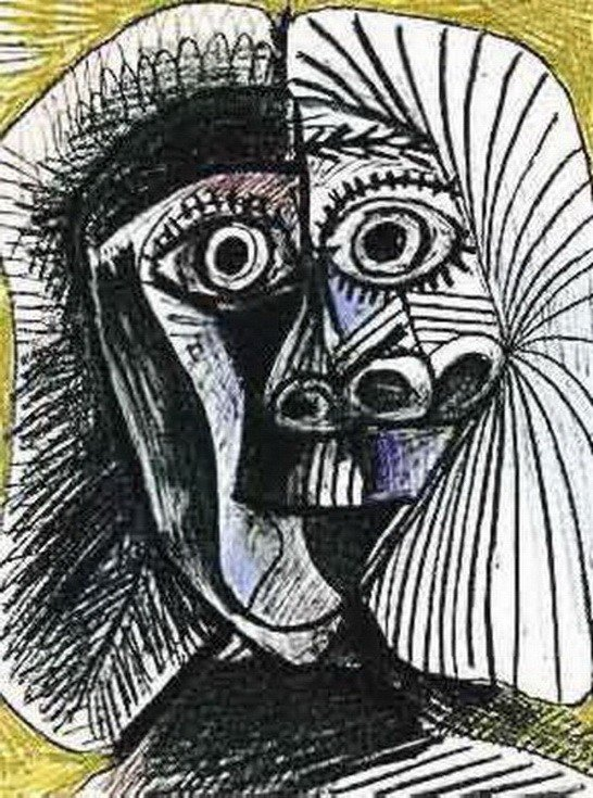 5T: #112 BLACK AND YELLOW DRAWING PICASSO ESTATE SIGN