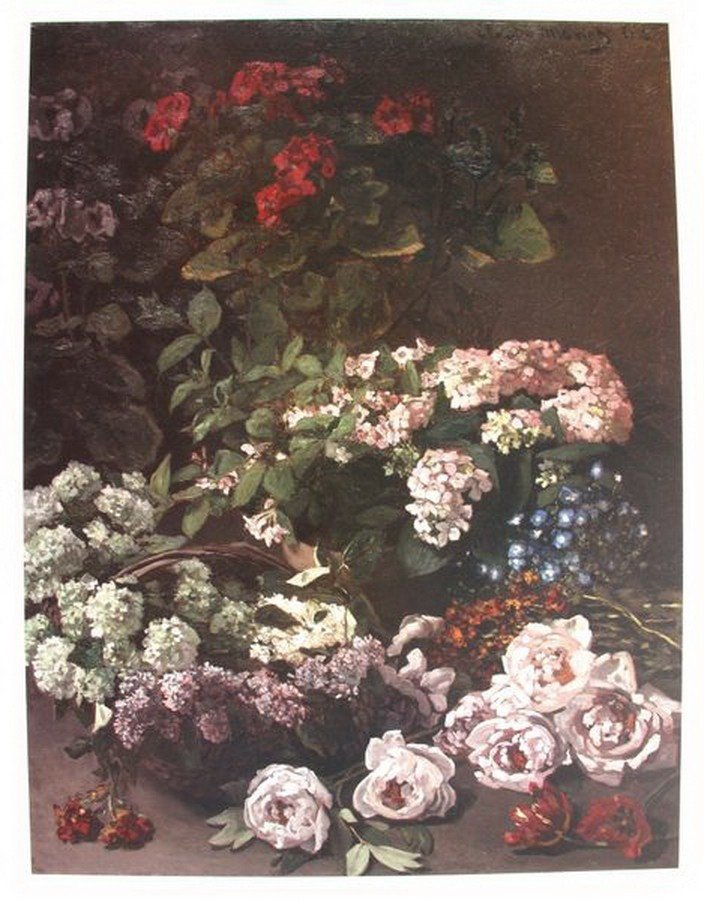 13T: CLAUDE MONET SPRING FLOWERS PLATE SIGNED LITHOGRA