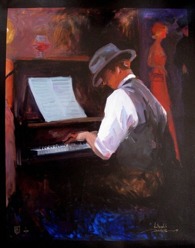 95T: AVTANDIL PLAY ME A TUNE HAND SIGNED GICLEE CANVAS