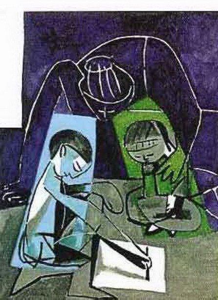 839T: #091 CHILDREN WRITING PICASSO ESTATE SIGNED GICLÉ