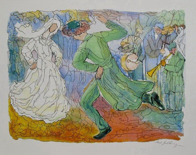 877T: CHAIM GOLDBERG LOVERS DANCE HAND SIGNED LITHOGRAP