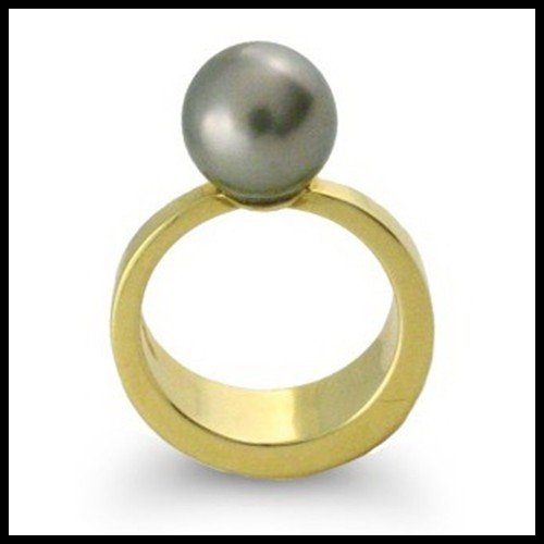 105F: CONTEMPORARY 18KT TAHITIAN PEARL RING