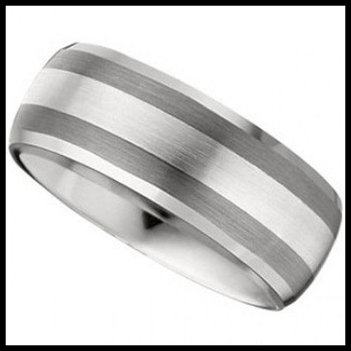 17F: DOMED TUNGSTEN WITH STERLING INLAY