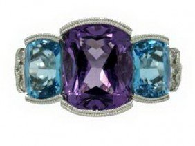 AMETHYST, BLUE TOPAZ & DIAMOND WHITE GOLD RING