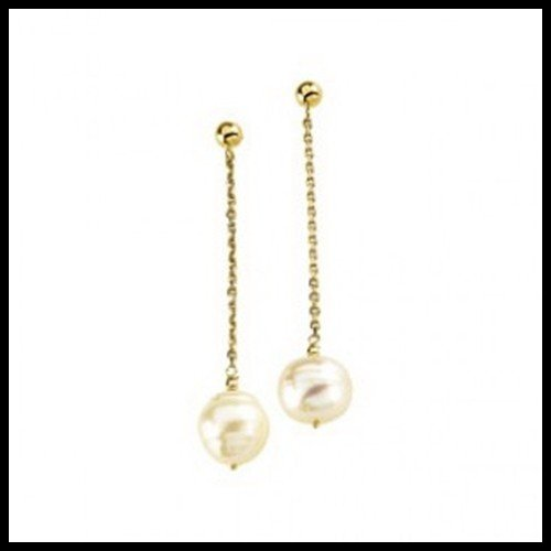 5F: FRESHWATER CIRCLE PEARL CHAIN DANGLE EARRINGS