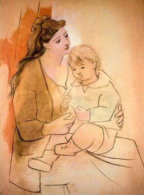 12T: #086 MOTHER AND CHILD PICASSO ESTATE SIGNED GICLÉ