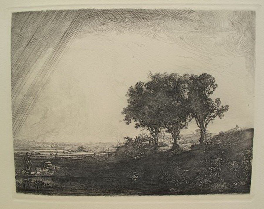 22T: REMBRANDT THE THREE TREES ETCHING