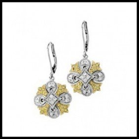 1F: NATURAL YELLOW & WHITE DIAMONDS LEVER BACK EARRIN