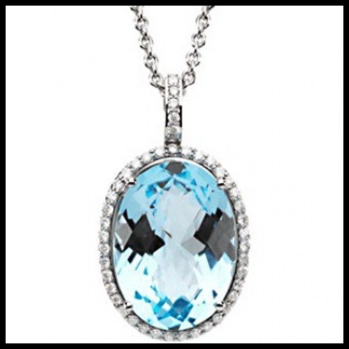 5F: 15CT SKY BLUE TOPAZ AND DIAMOND PENDANT