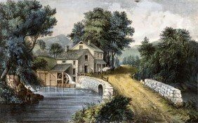 "CURRIER AND IVES  ""ROADSIDE MILL"""