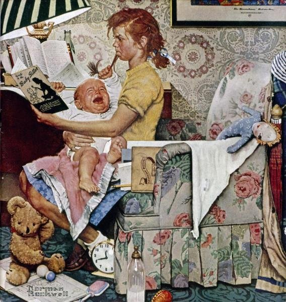 """1G: ROCKWELL  """"THE BABYSITTER"""" ON CANVAS"""
