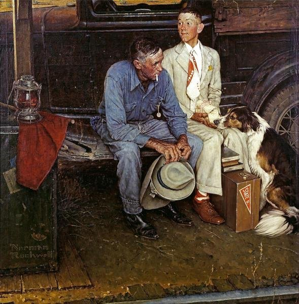 """79G: ROCKWELL """"BREAKING HOME TIES"""" ON CANVAS"""
