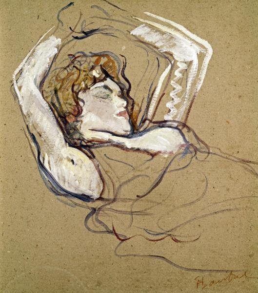 "56H: HENRI TOULOUSELAUTREC  ""WOMAN SLEEPING ON THE BACK"