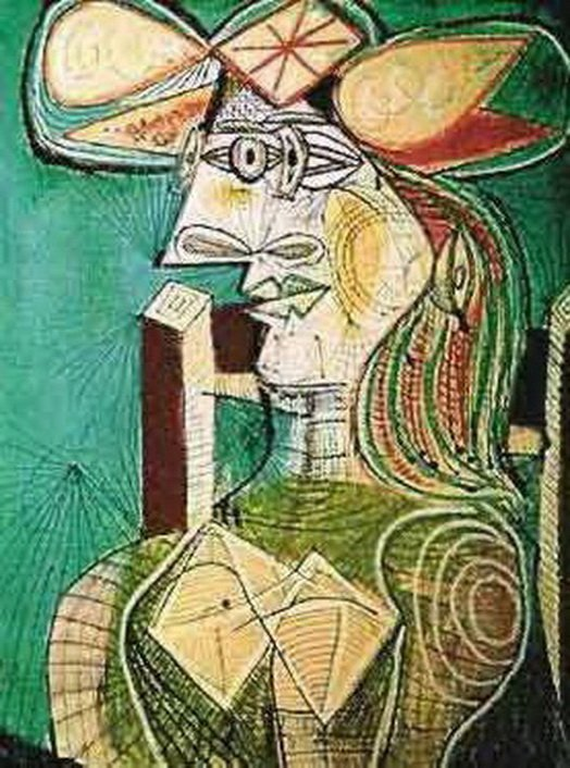 1T: #110 SEATED WOMAN ON WOOD CHAIR PICASSO ESTATE SIG