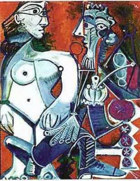 51T: #104 MAN WITH NUDE WOMAN PICASSO ESTATE SIGNED GI