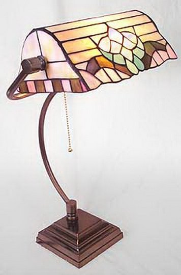 73B: TIFFANY STYLE GLASS DESK LAMP