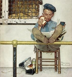 "ROCKWELL  ""LION AND HIS KEEPER"" ON CANVAS"