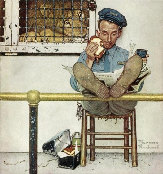 """1G: ROCKWELL  """"LION AND HIS KEEPER"""" ON CANVAS"""