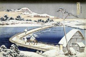 "HOKUSAI  ""PONTOON BRIDGE AT SANO, KOZUKE PROVINCE,"