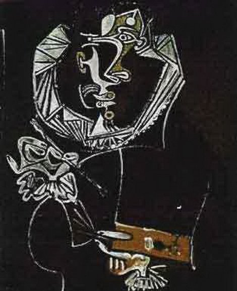 7T: #137 PAINTING IN BLACK PICASSO ESTATE SIGNED GICL