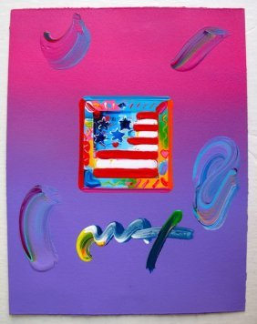 1S: PETER MAX FLAG WITH HEARTS HAND SIGNED ORIGINAL MIX