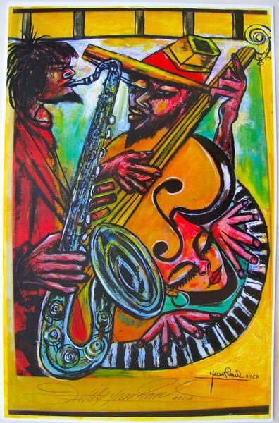 55T: JEAN PAUL HAITIAN ART SAX AND CELLO HAND SIGNED L